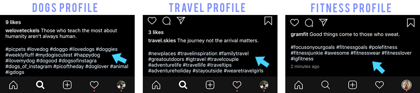 hashtags captions example posts