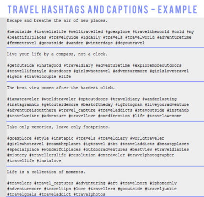 hashtags captions tool travel example results
